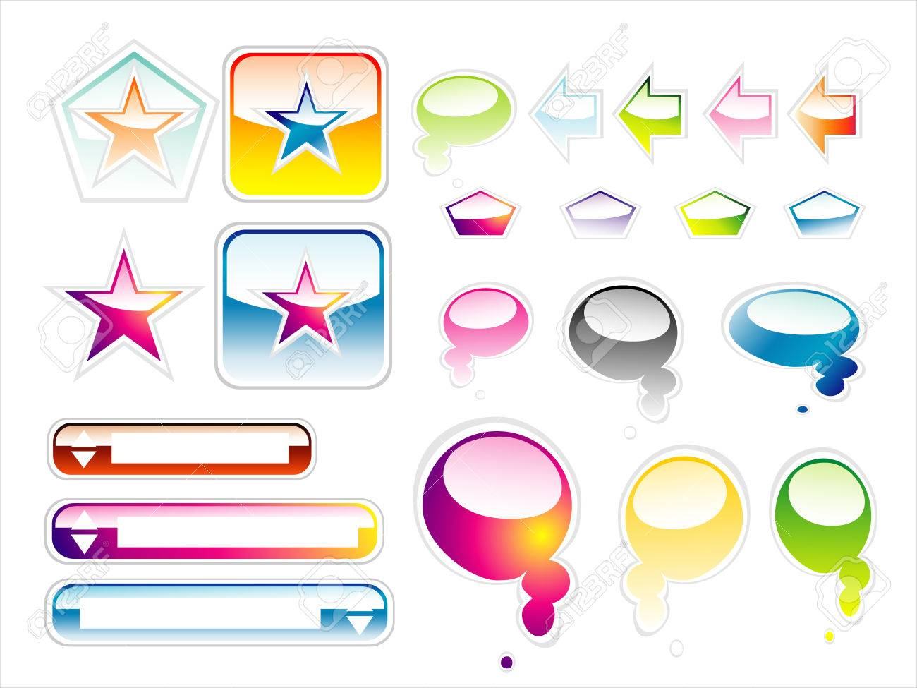 Set of full colours web elements with glossy effect Stock Vector - 4897134