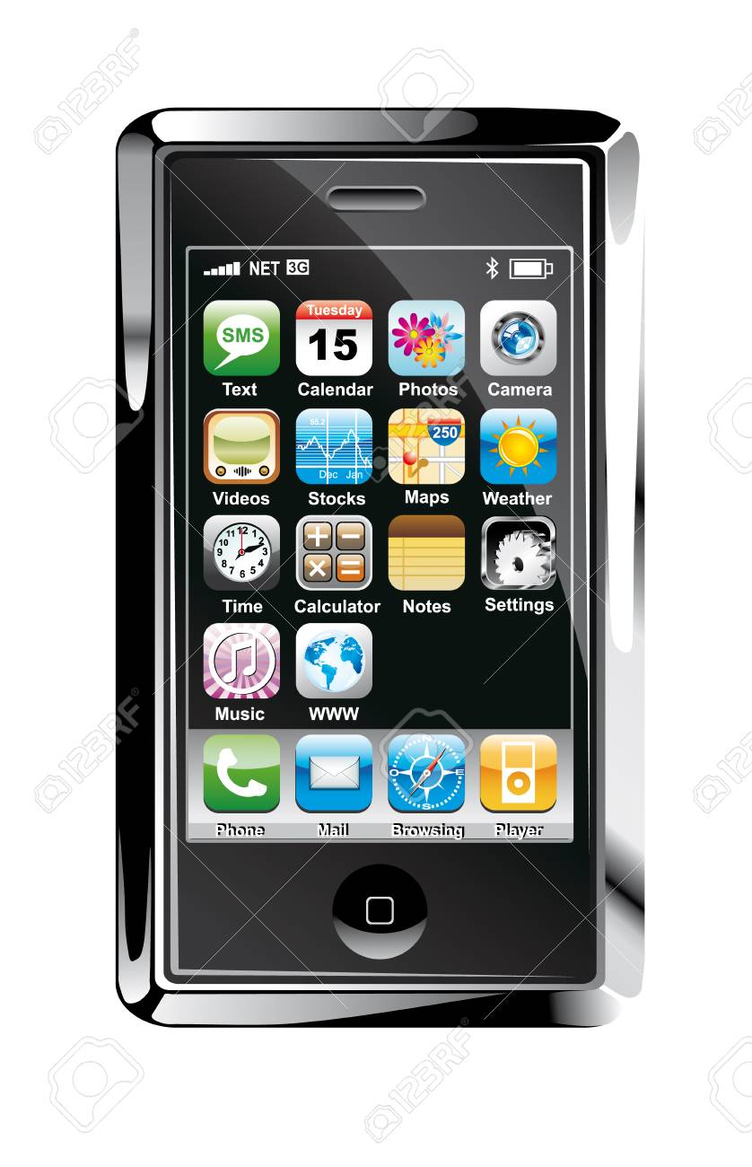 Glossy Balck and Chromed Concept Touch screen phone design Stock Photo - 5066034