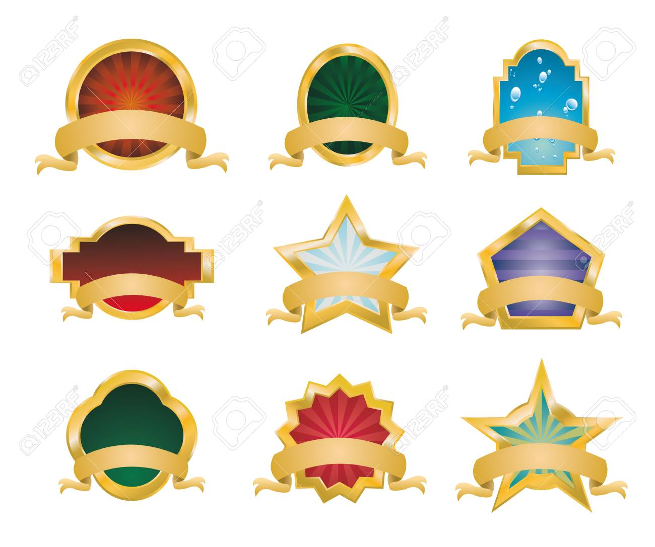 Collection of Vintage Gold Emblems - Set 1 Stock Vector - 5065959
