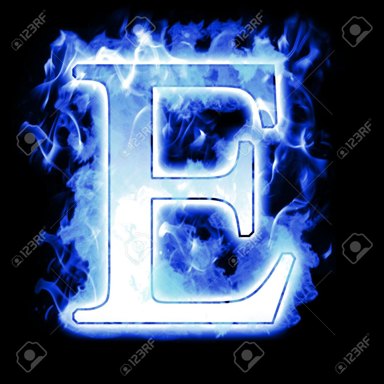Burning Letter With Cold Blue Flames Ice Flame Alphabet Stock