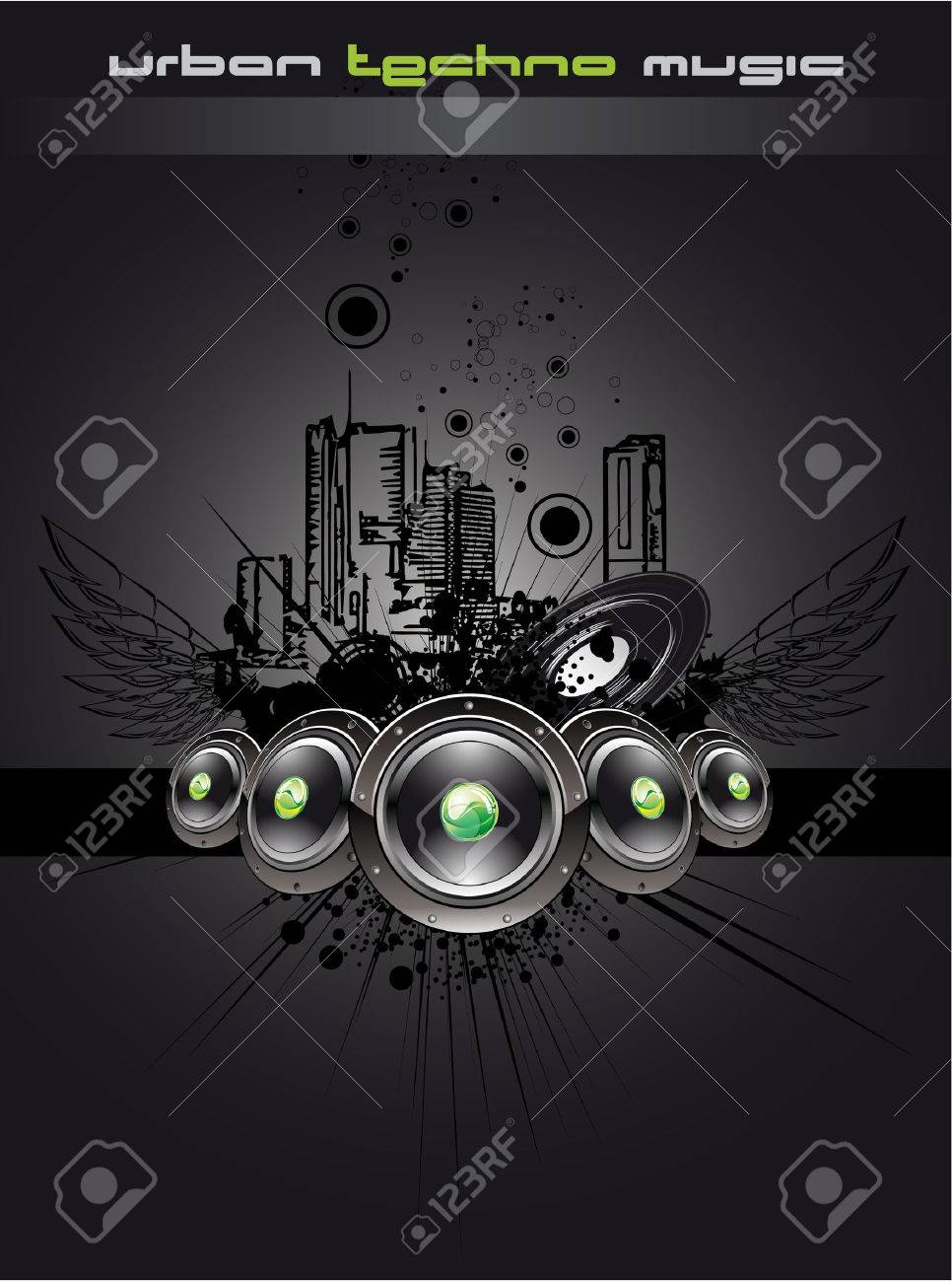 Urban Disco Dancing Music Event Background for Flyers Stock Vector - 5523725
