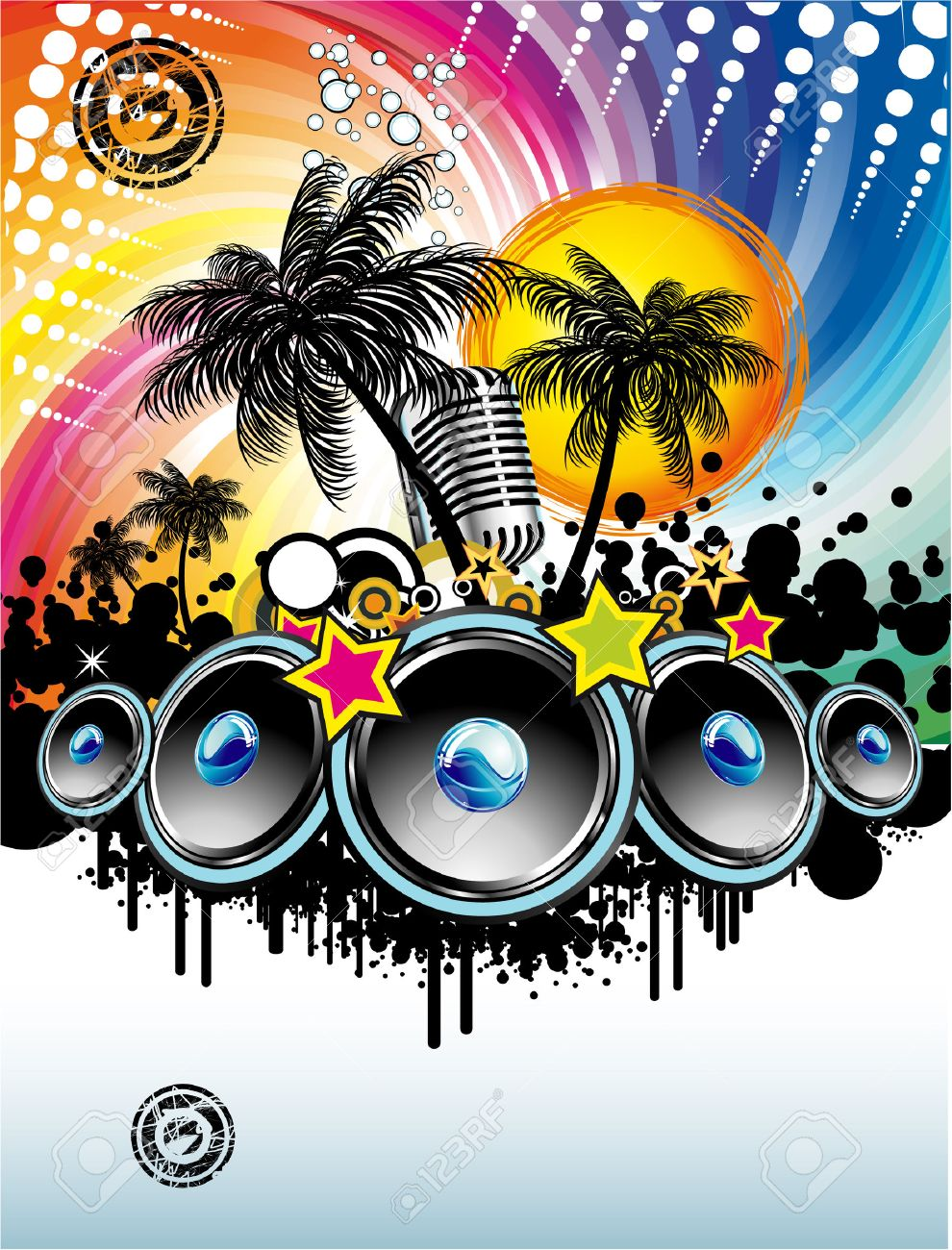 Disco Dance Tropical Music Flyer With Colorful Background Royalty – Music Flyer