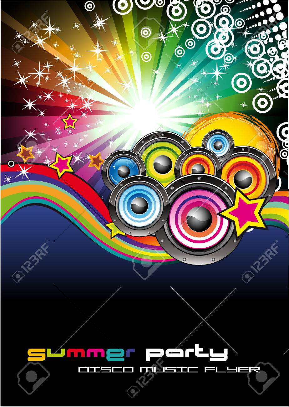 Colorful Rainbow Abstract Music Background for Disco flyers Stock Vector - 5855255