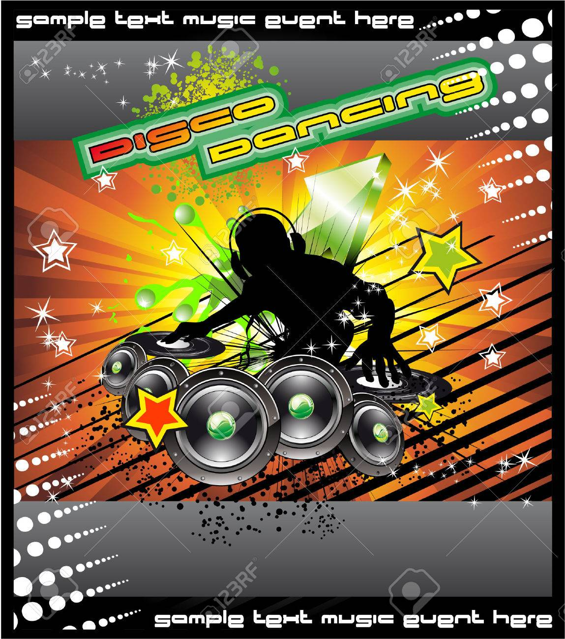 Colorful Disk Jockey Musical Event  Background for Disco Flyer Stock Vector - 5855289