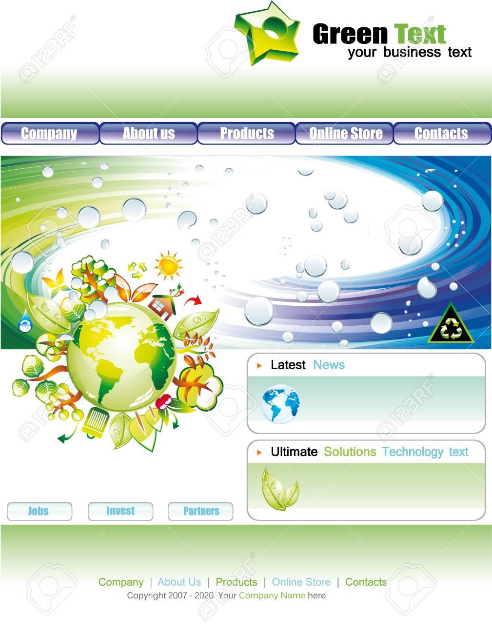 繊細な色とカラフルな web サイト環境グリーン テンプレート