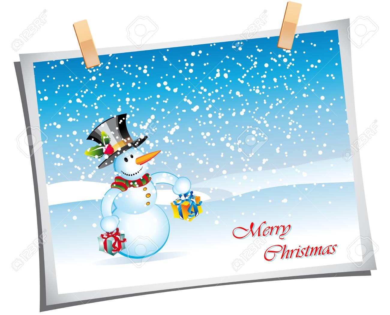 Merry Christmas Greetings card with cartoon snowman Stock Vector - 6125625