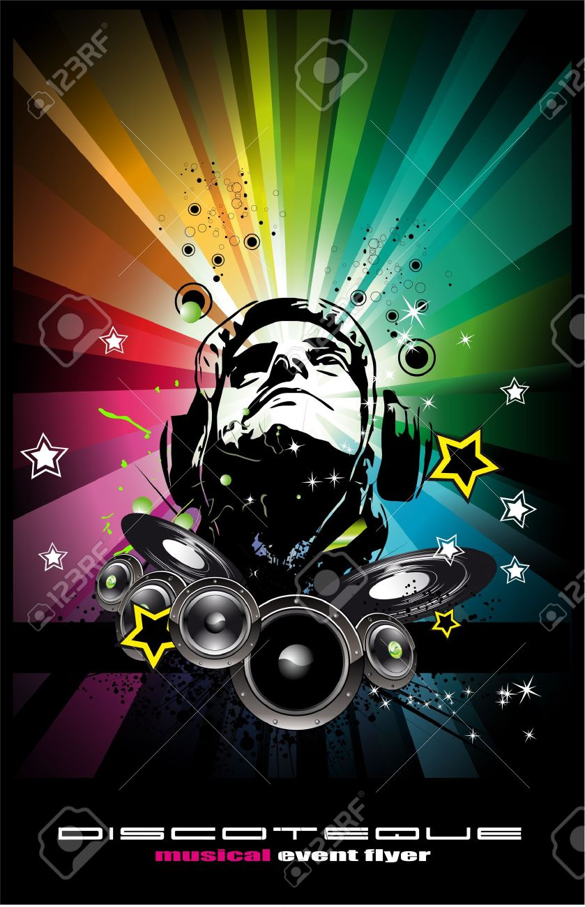 Abstract Colorful Music Event Background with Disk Jockey Shape for Discoteque Flyers Stock Vector - 7719575