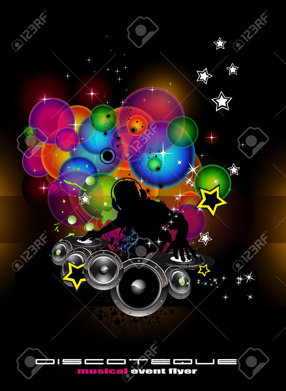 Abstract Light Music Event Background With Dj Shape Royalty Free