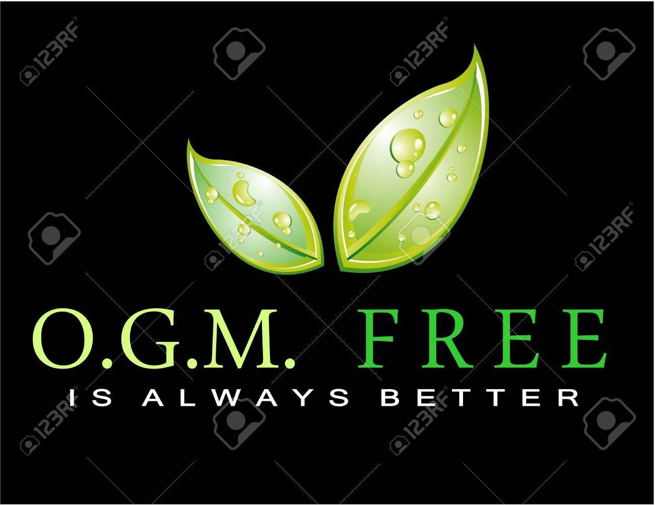 Green Slogan: OGM FREE is always better Stock Vector - 7719459
