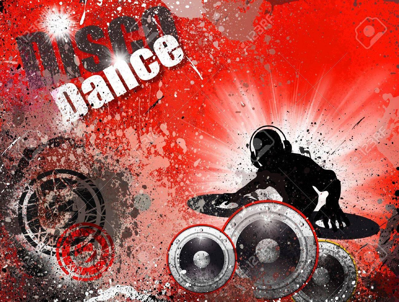 Techno Grunge style DJ Disco Flyer Background Stock Photo - 7825385