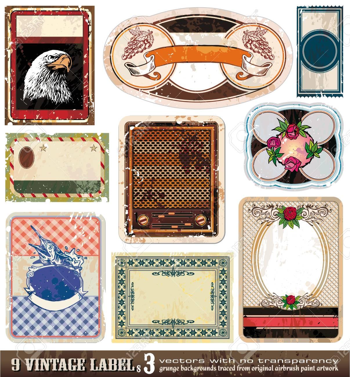 Vintage Labels Collection - 9 design elements with original antique style -Set 3 Stock Vector - 8310235