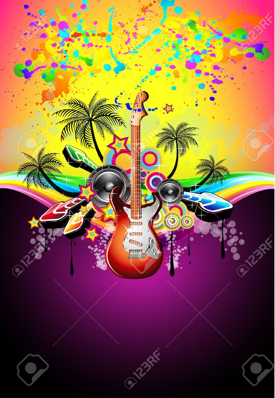 Tropical Music Event Disco Flyer with rainbow colours Stock Vector - 9894402