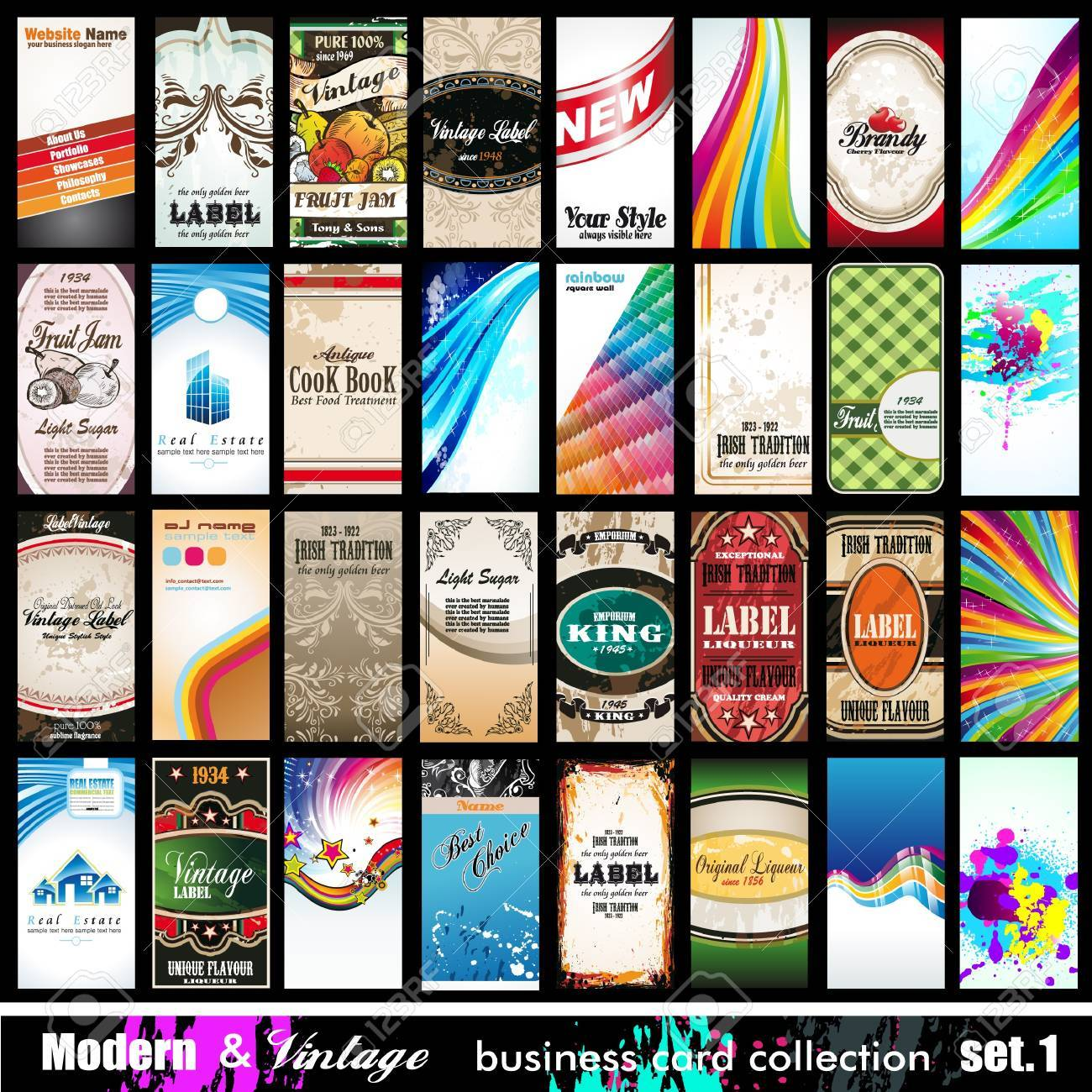 Modern   Vintage Business Card Collection - 32 quality backgrounds - Set 1 Stock Photo - 19264998