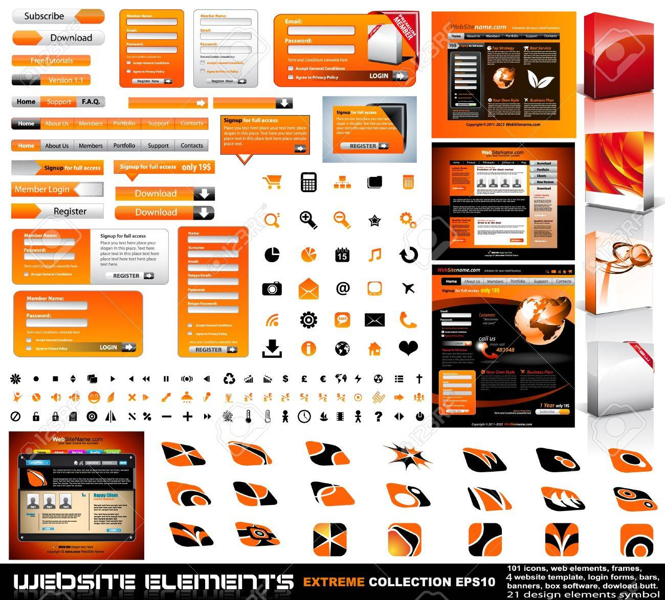 Web design elements extreme collection - frames, bars, 101 icons, bannes, login forms, buttons.4 websites,4software boxes and so on! Stock Vector - 8965982