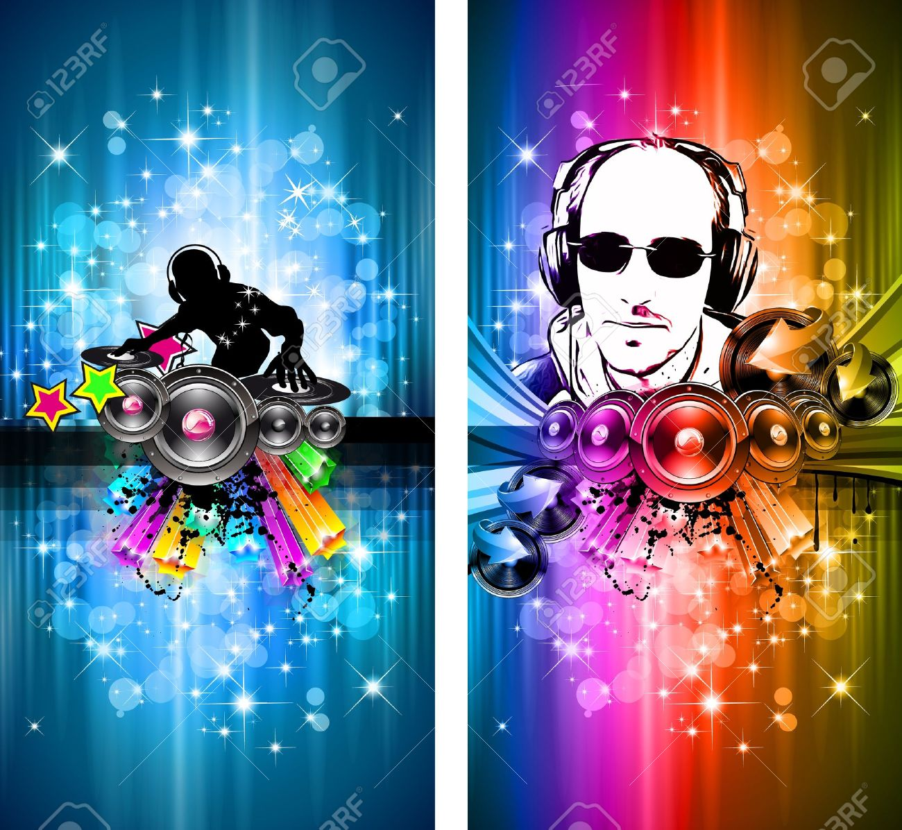 MAgic Lights Disco Flyer with DJ shape and a lot of stars Stock Vector - 9116032