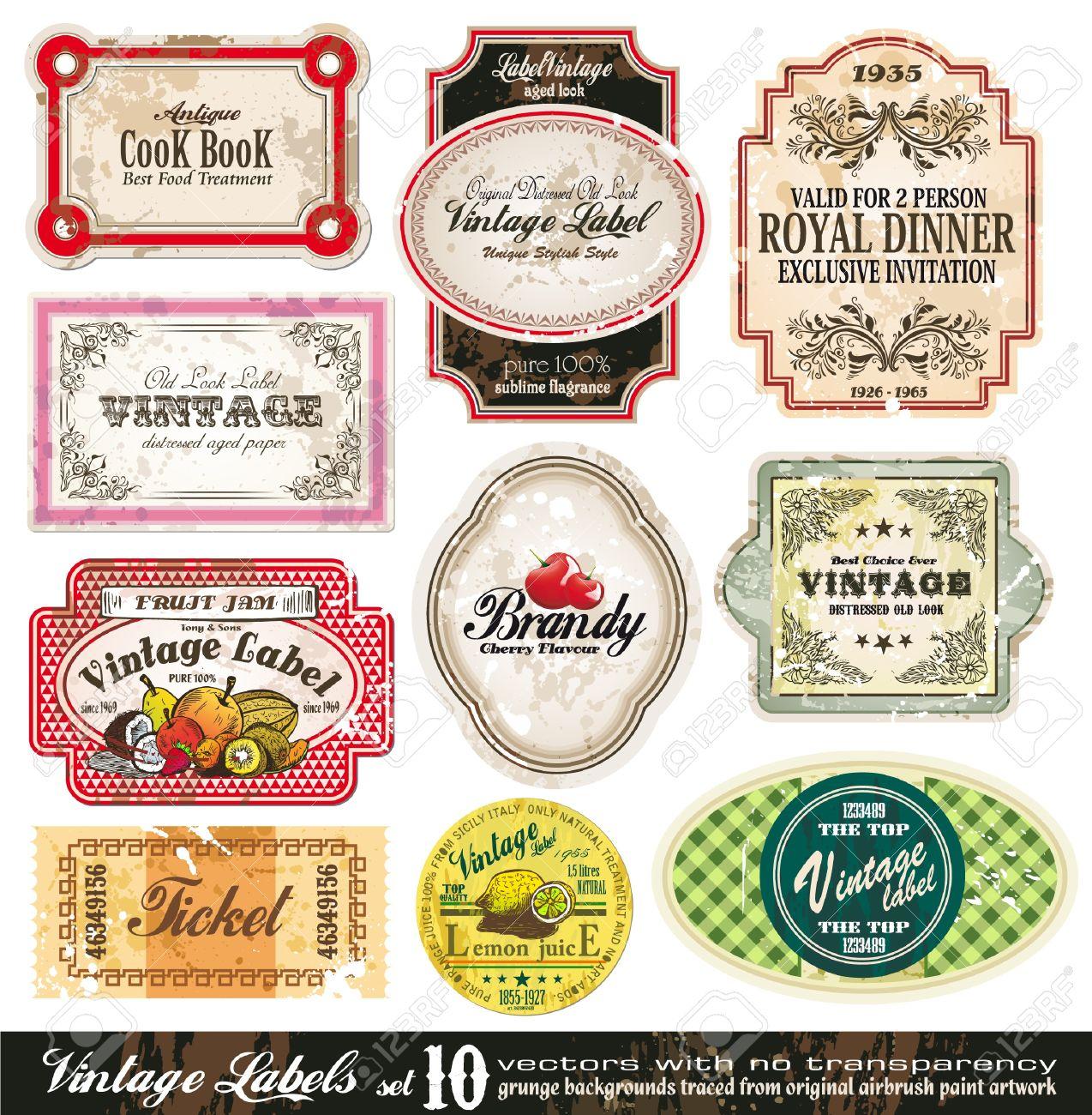 Vintage Labels Collection - 10 design elements with original antique style -Set 10 Stock Vector - 9162388