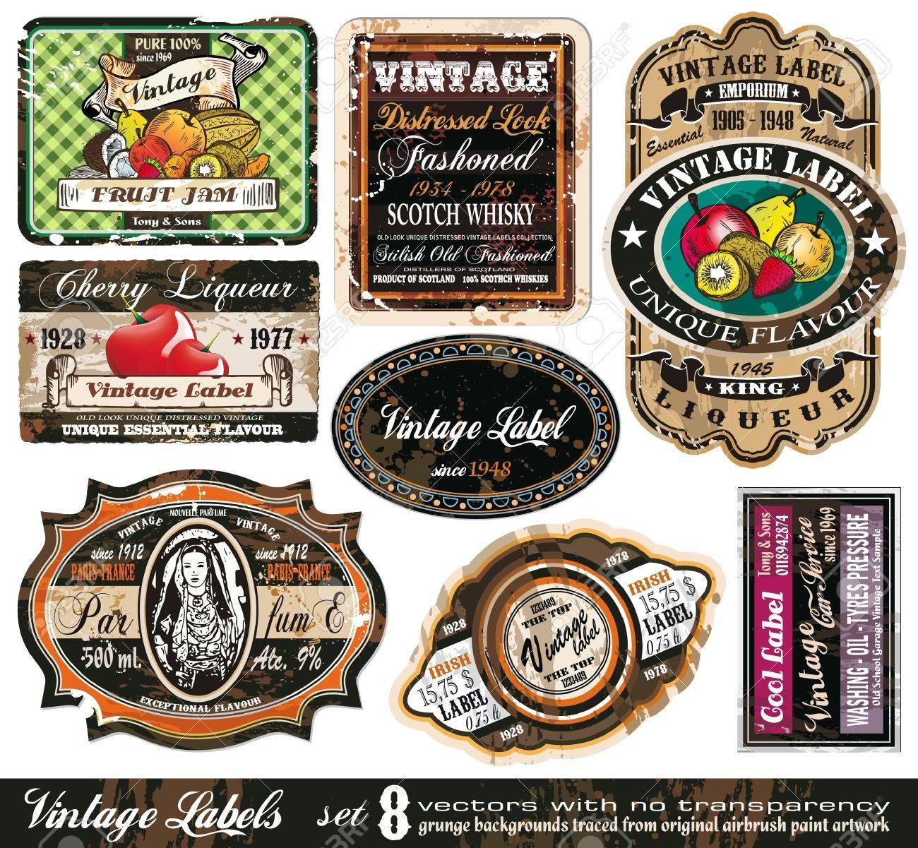 Vintage Labels Collection - 8 design elements with original antique style -Set 8 - 9226780