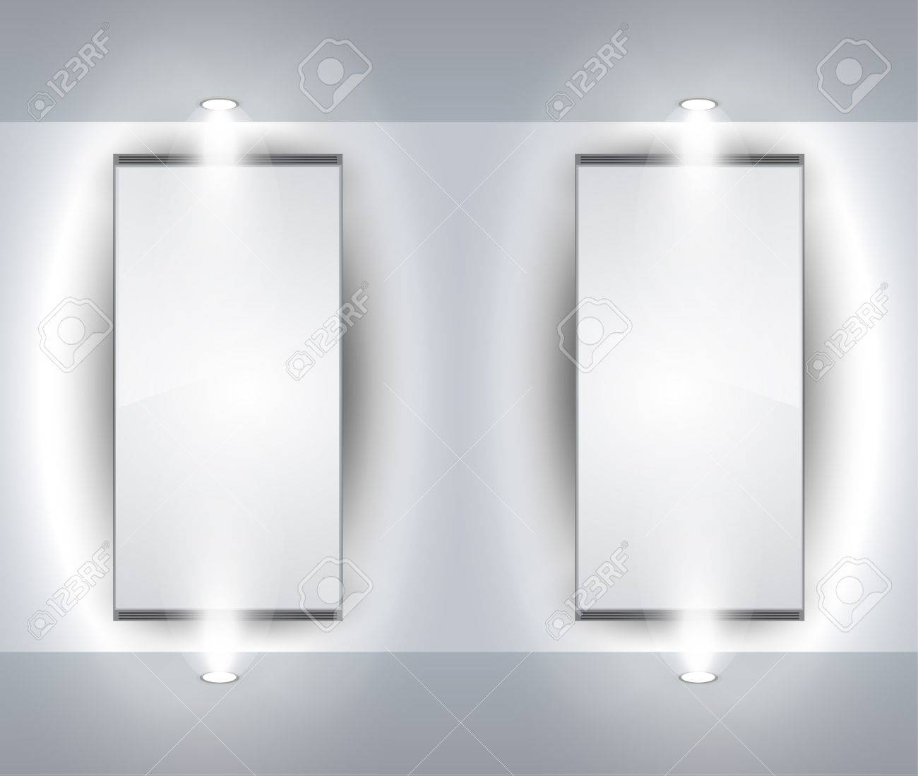 Showroom Panel for product with LED spotlights and place for text or image Stock Vector - 9340867
