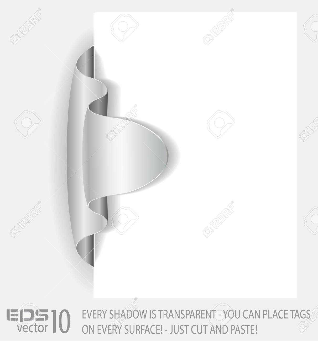 Paper tag with TRANSPARENT shadows. You can place it on every surface! Stock Vector - 9476120