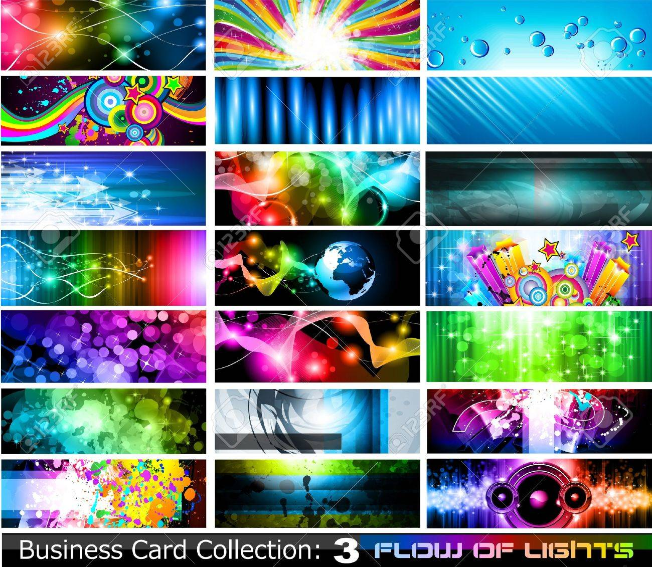 Abstract Business Card Collection: Flow of lights - Set 3 Stock Vector - 9595287