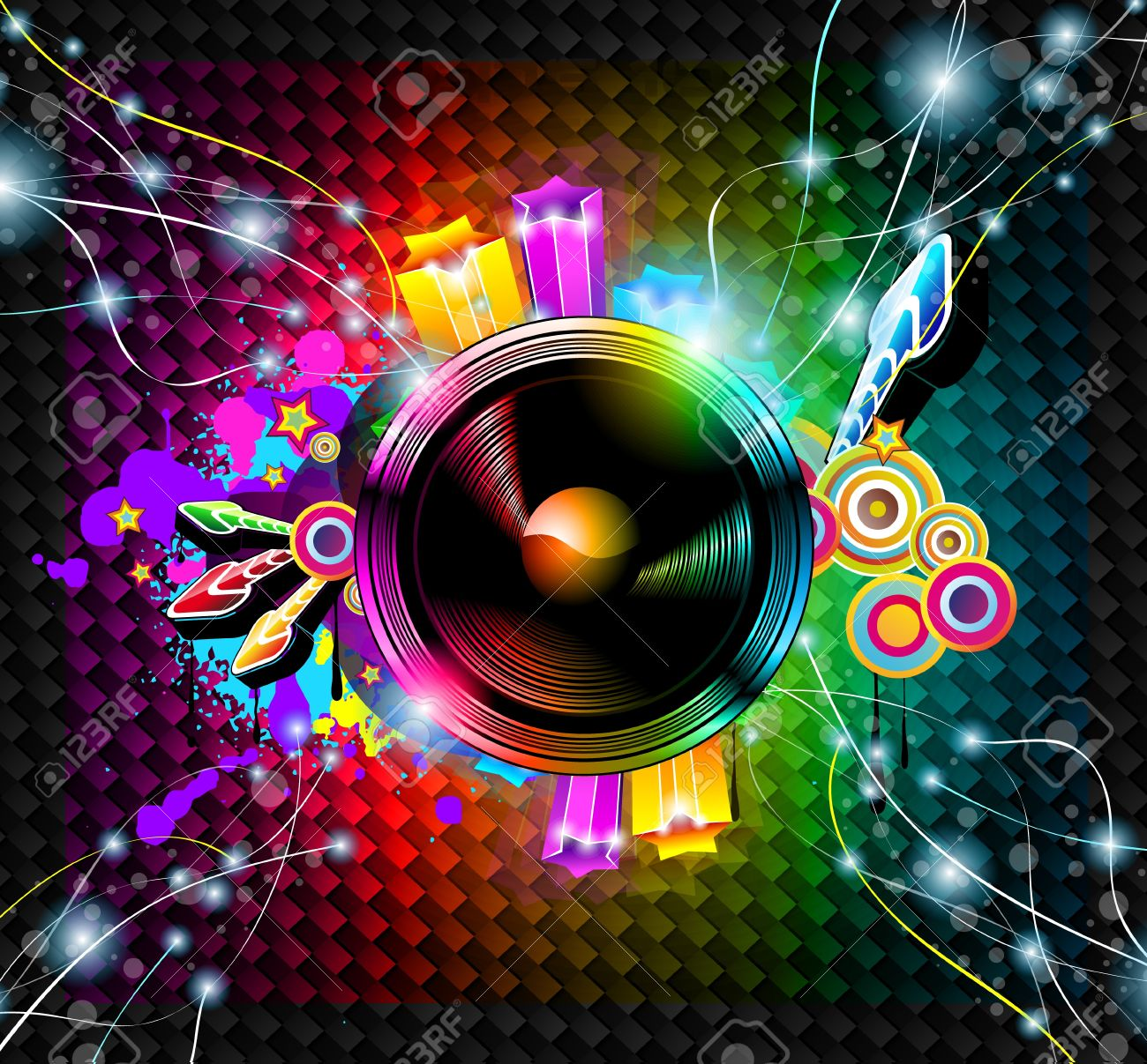 Disco Event Background with and Explosion of colurs! Ready for flyers and posters. Stock Vector - 9595297