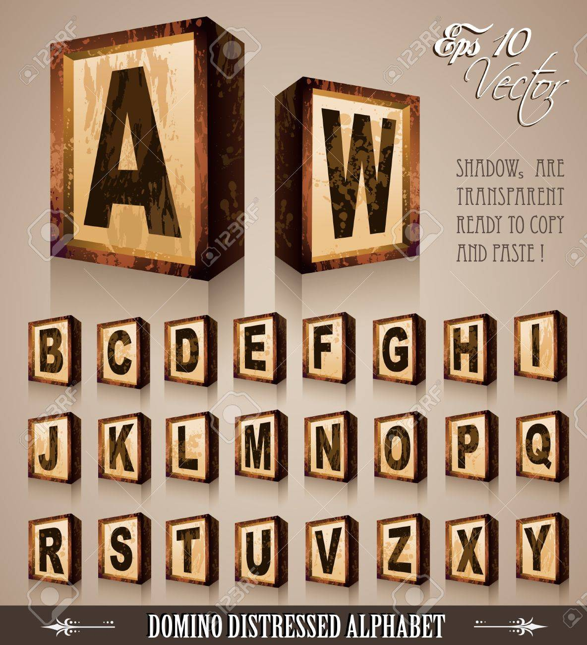 Vintage Domino Style Alphabet 3D with distressed antique look. Shadows are transparent so ready to be placed everywhere Stock Vector - 9595295