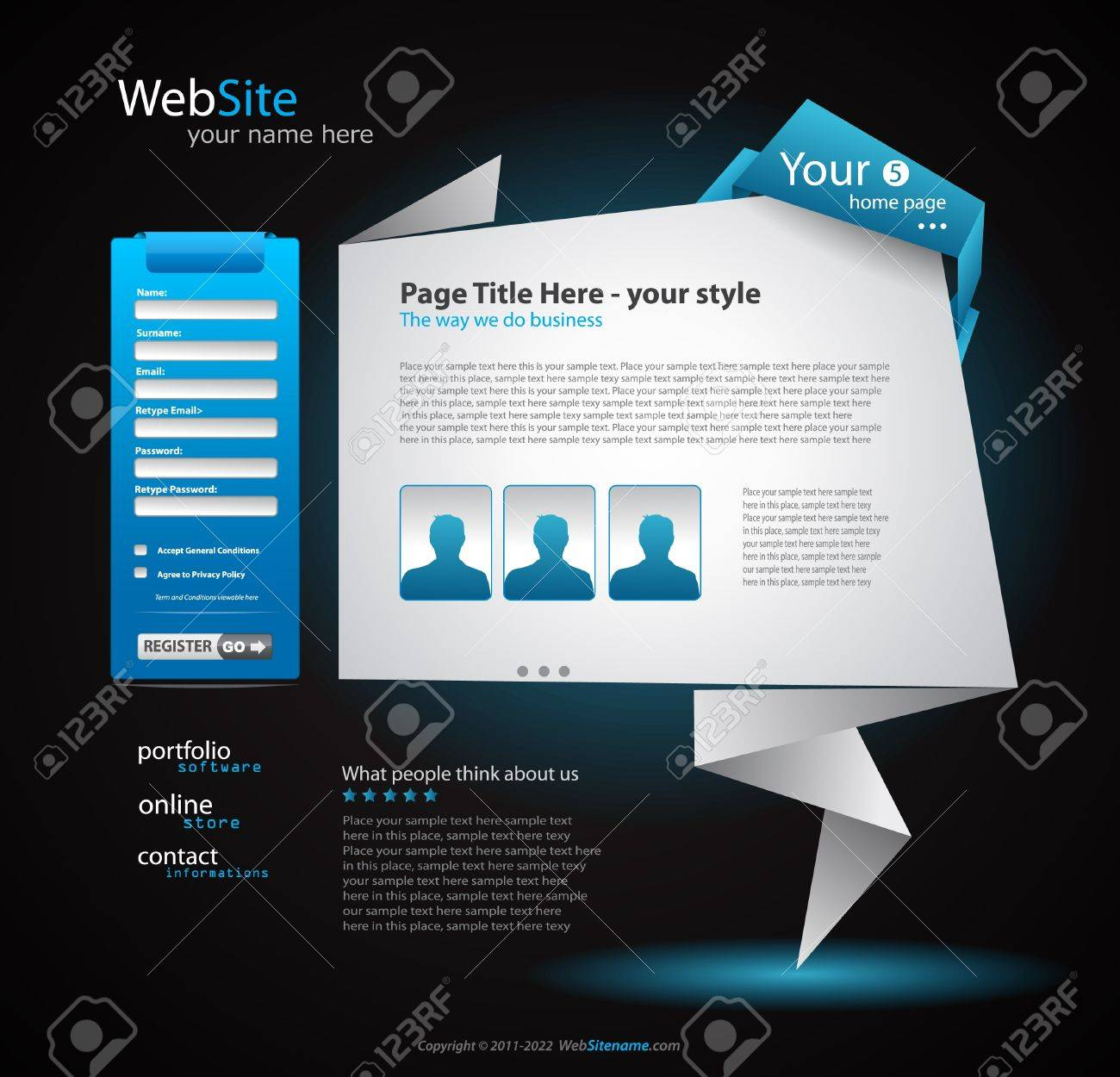 Origami Website - Elegant Design for Business Presentations. Every Shadow is transparent Stock Vector - 9662567