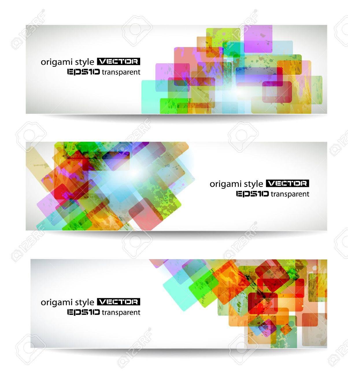 Set of abstract modern header banner for flyer or website Stock Vector - 9662595
