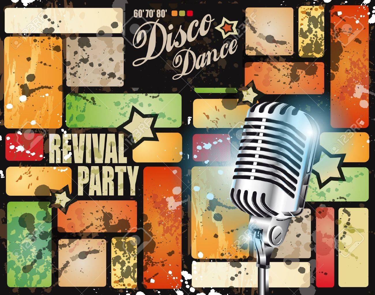 Retro' revival disco party flyer or poster for musical event Stock Vector - 9662599