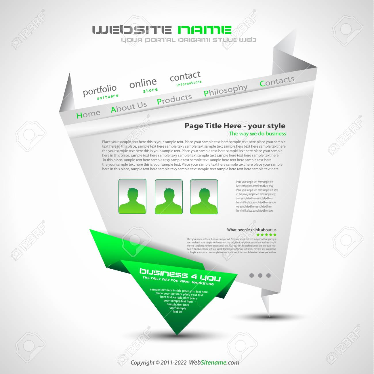 Origami Website - Elegant Design for Business Presentations. Template with a lot of design elements. Every Shadow is transparent Stock Vector - 9888604