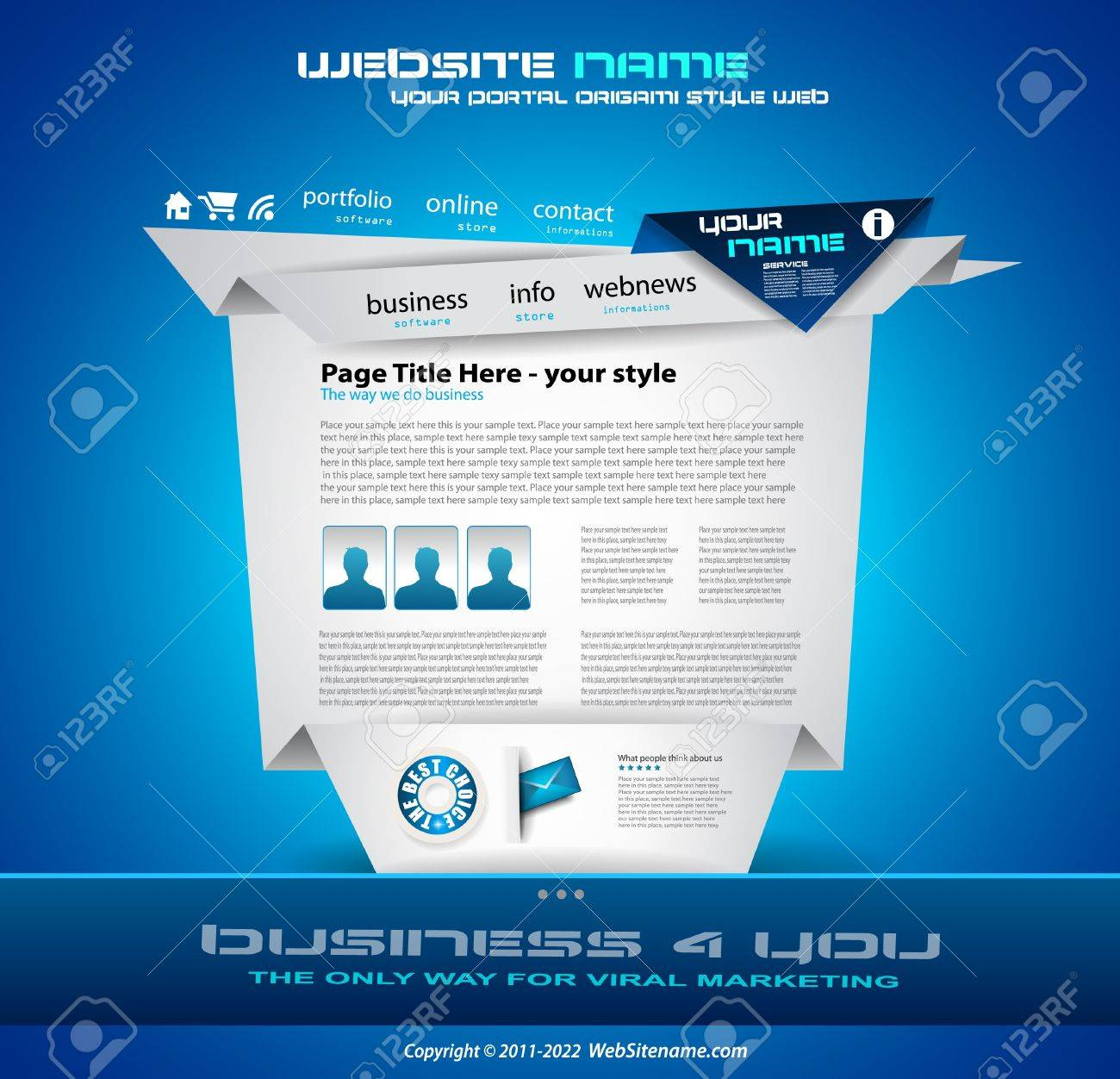 Origami Website - Elegant Design for Business Presentations. Template with a lot of design elements. Every Shadow is transparent Stock Vector - 10215630