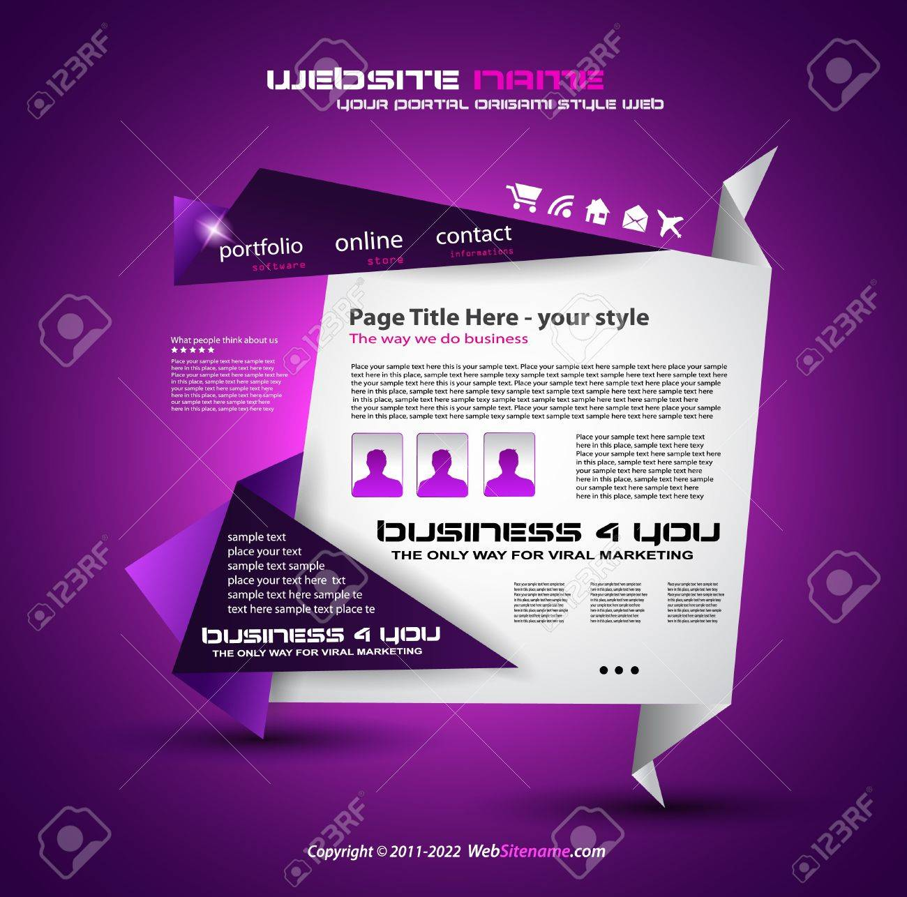 Origami Website - Elegant Design for Business Presentations. Template with a lot of design elements. Every Shadow is transparent Stock Vector - 10215645
