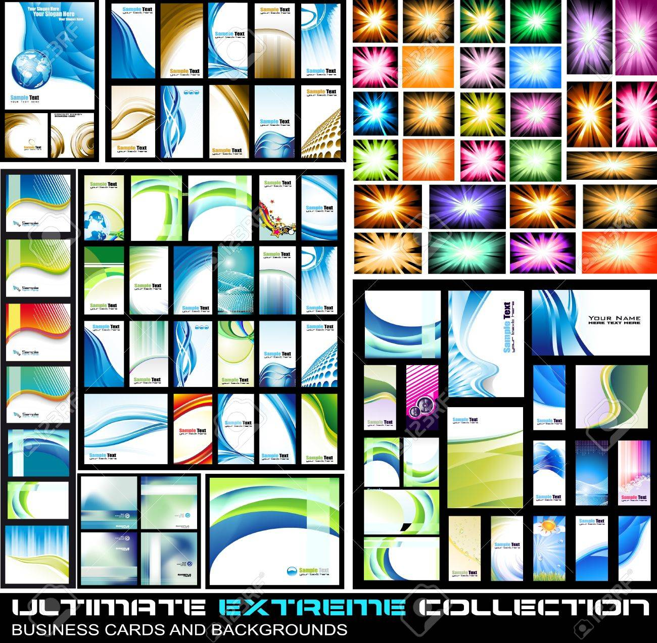 Ultimate Extreme Collection of business corporate cards and lbackground - A lot of pieces for all kind of cover,brochures and original presentations background. Stock Vector - 10298550