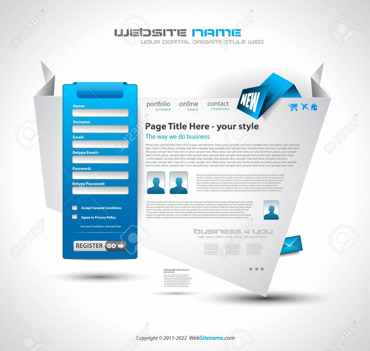 Origami Website Elegant Design For Business Presentations - Online store privacy policy template