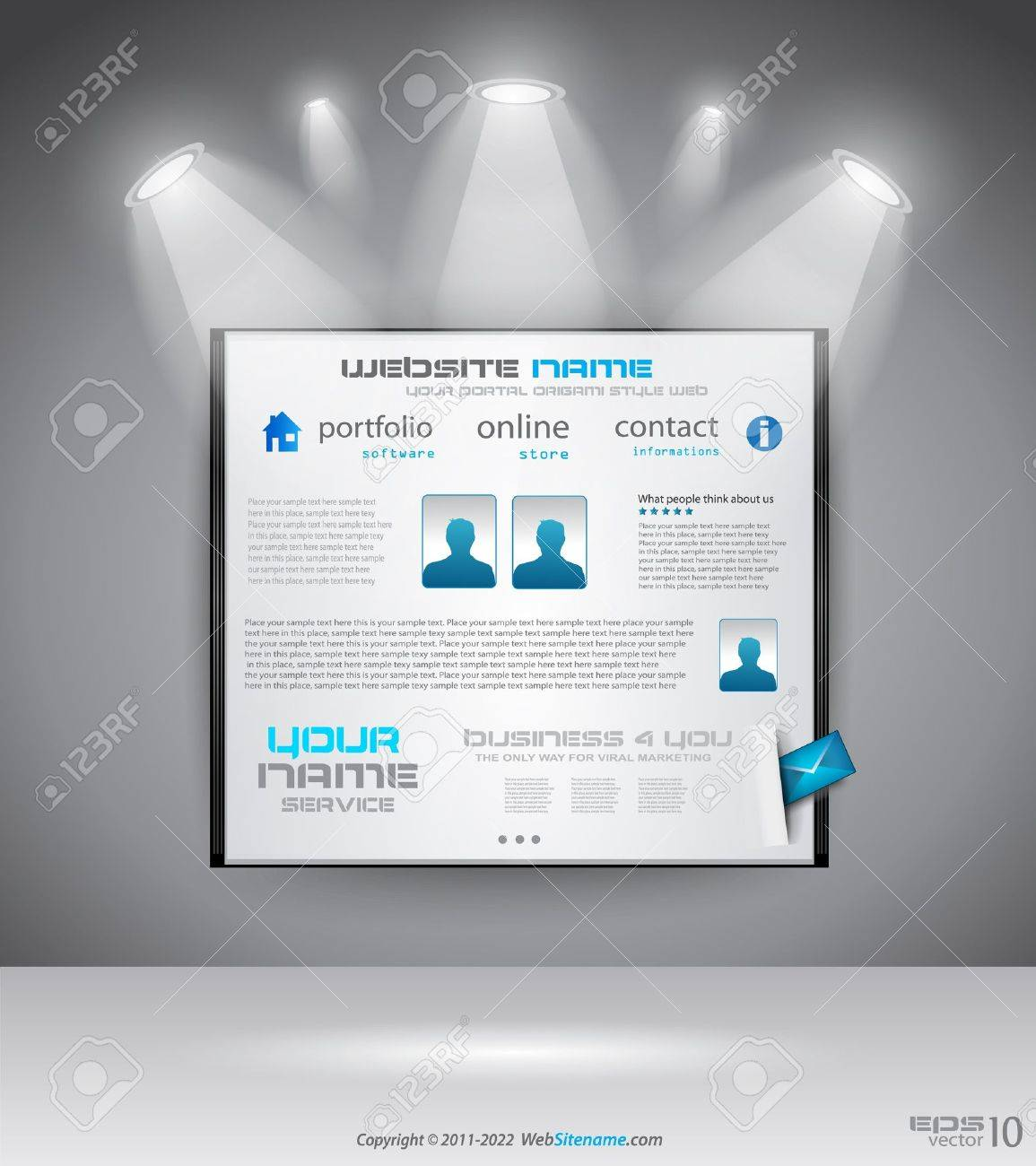 Original Style shopfront showroom website template with spotlights featuring the main panel and design elements. Stock Vector - 10298540