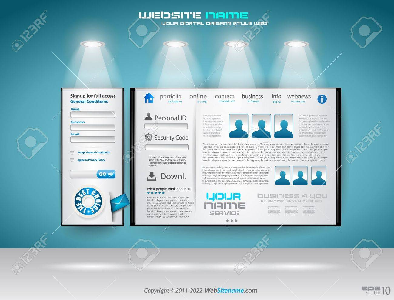 Original Style shopfront showroom website template with spotlights featuring the main panel and design elements. Stock Vector - 10298543