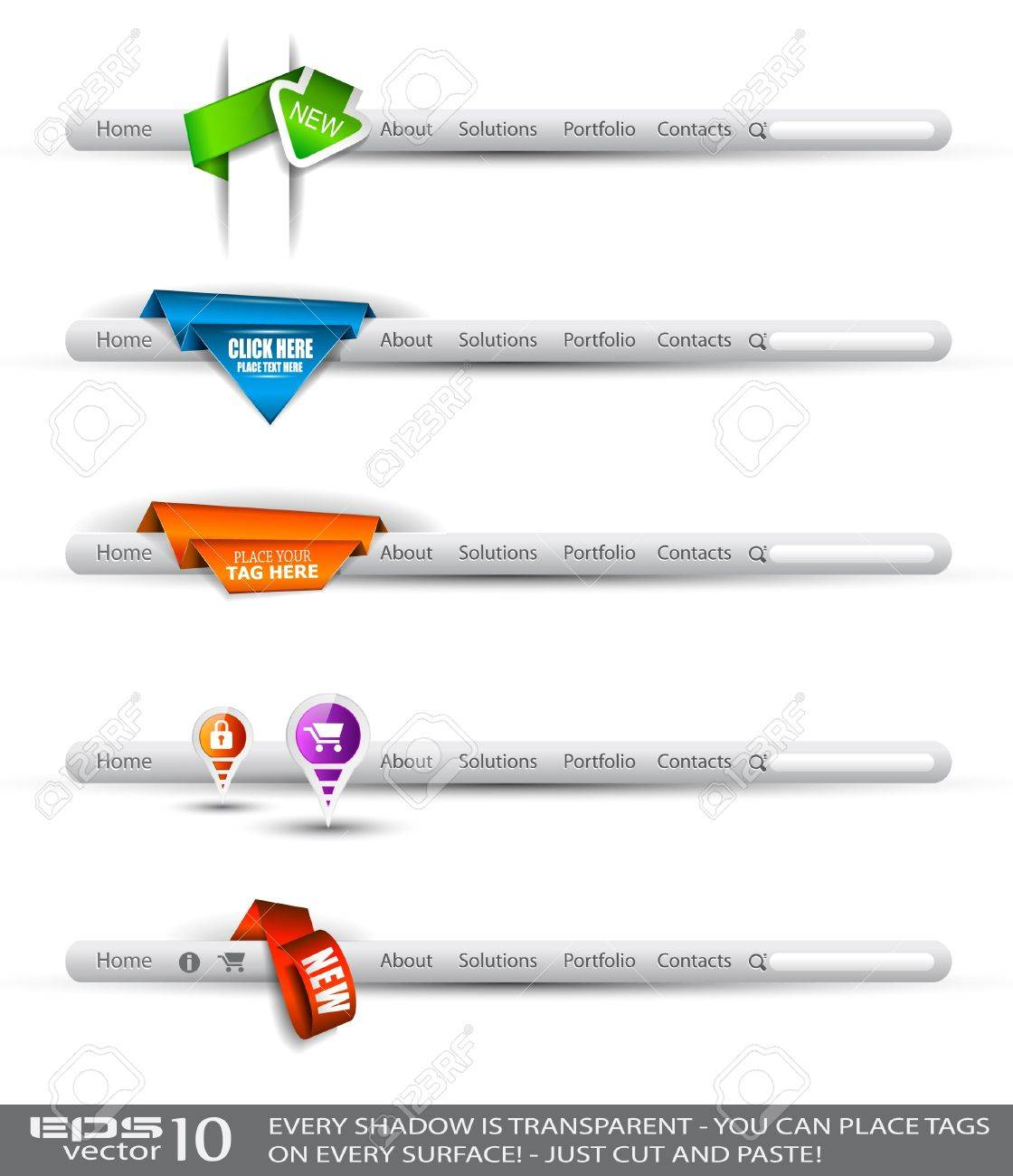 Set of modern original style search banners and web headers with various label tags for your text. Shadows are all transparents so you can place it on every surface. Stock Vector - 10376612
