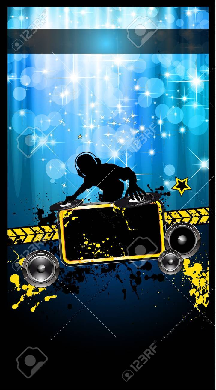 Gurnge Style Alternative Disco Flyer for you Music night events with disk jockey shape and a waterfall of ray lights in the background Stock Vector - 10422935