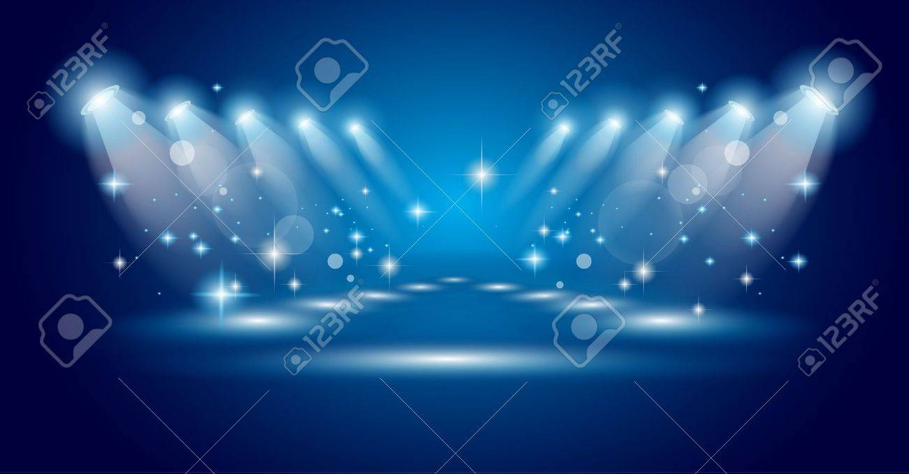 Magic Spotlights with Blue rays and glowing effect for people or product advertising. Every lights and shadow are transparent. Stock Vector - 10627955