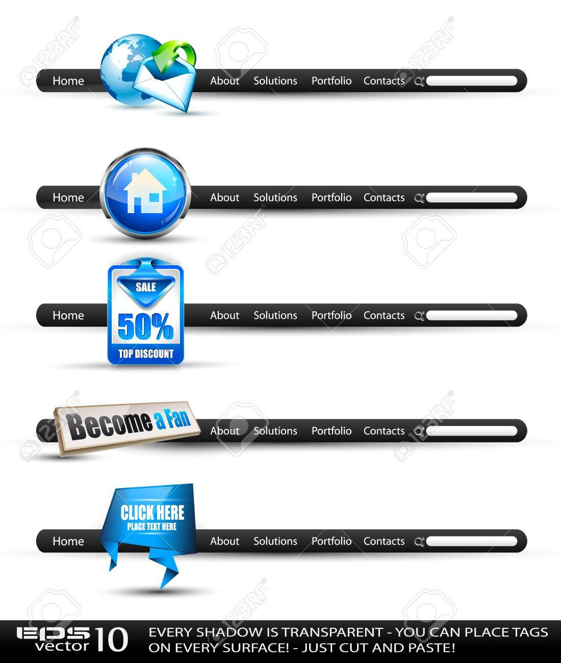 Set of modern high tech style search banners and web headers with various label tags for your text. Shadows are all transparents so you can place it on every surface. Stock Vector - 11138372