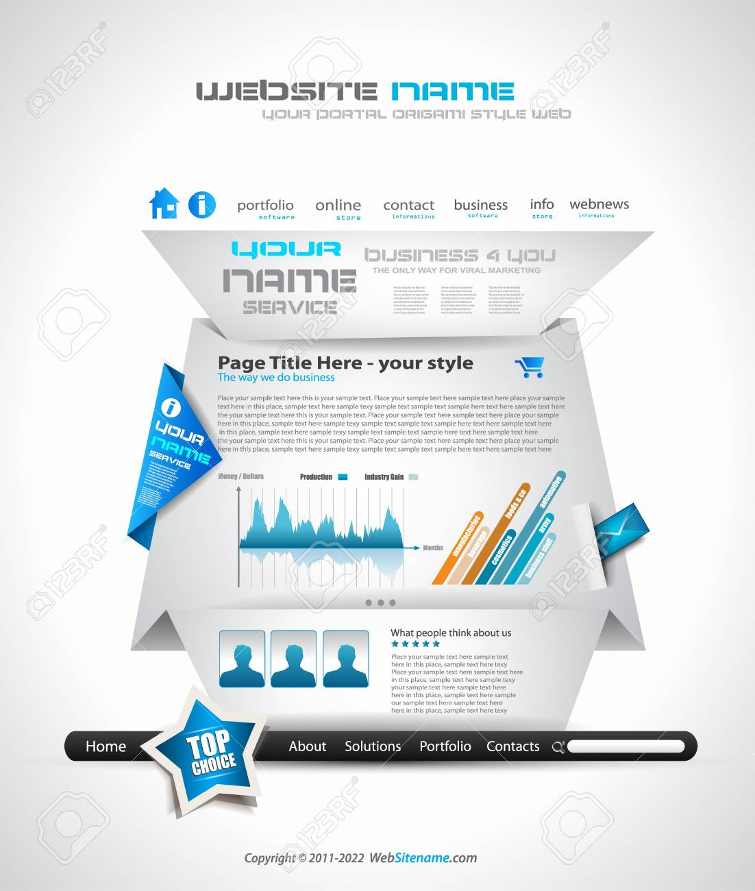 Origami Website - Elegant Design for Business Presentations. Template with a lot of design elements. Every Shadow is transparent Stock Vector - 11478916