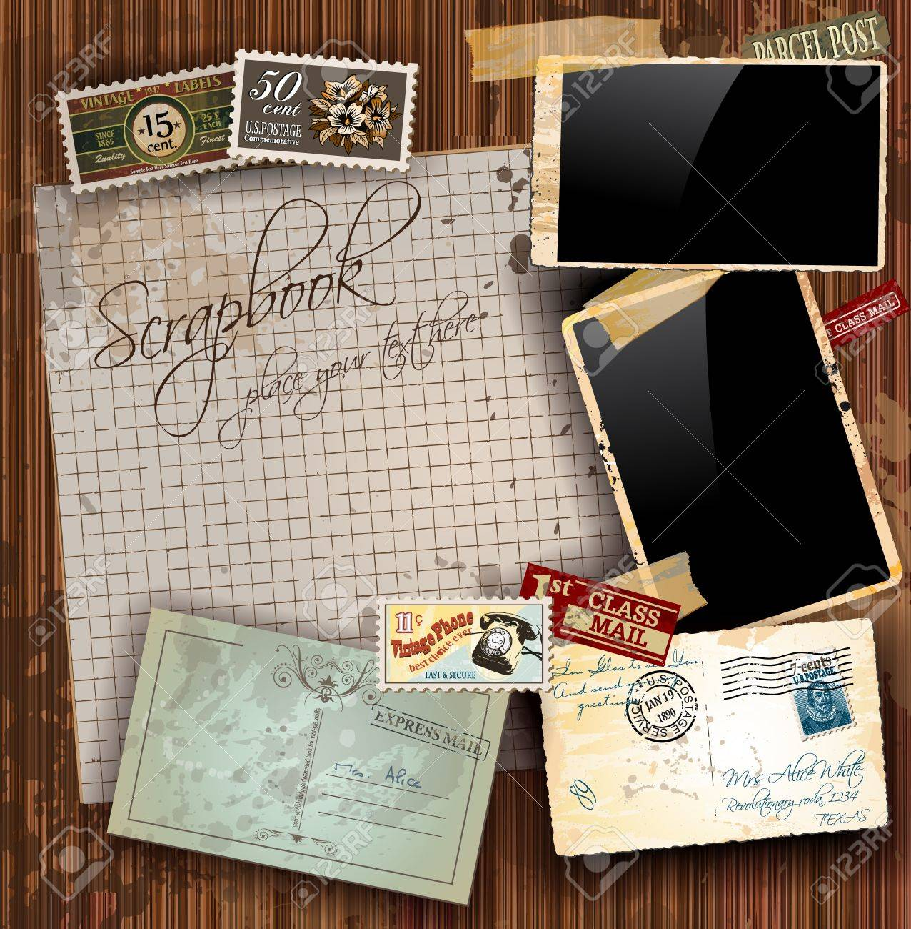 Vintage Sbook Composition With Old Style Distressed Postage ... on