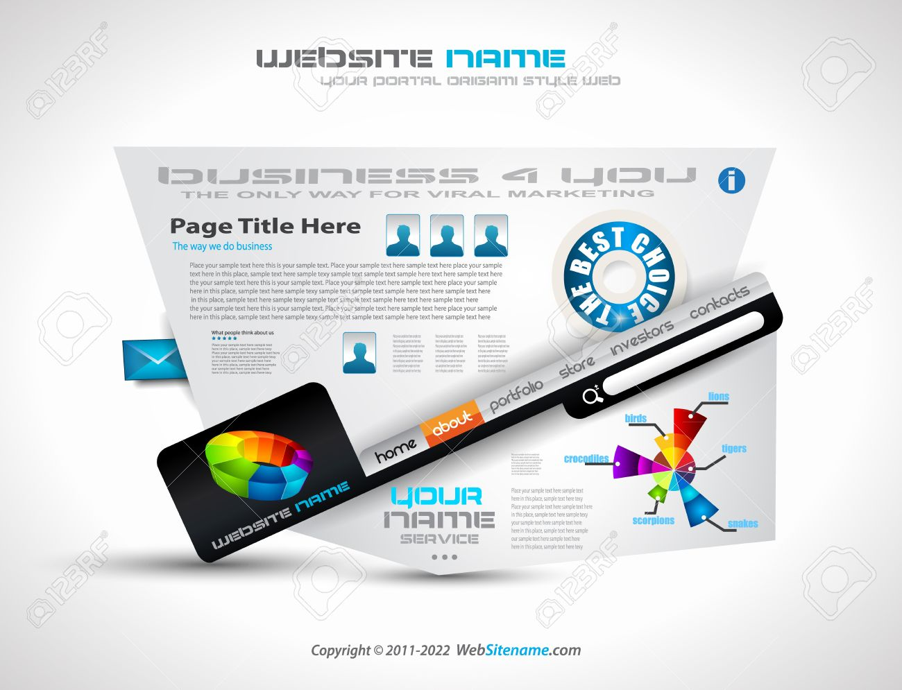 Complex Website Template - Elegant Design for Business Presentations. Template with a lot of design elements and infographics. Stock Vector - 12324057