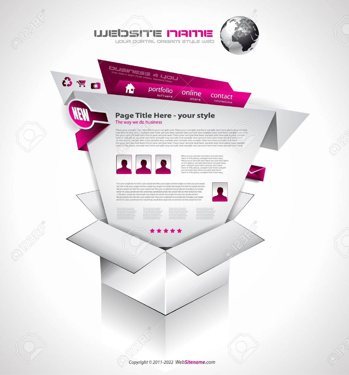 Complex Website Template - Elegant Design for Business Presentations. Template with a lot of design elements and infographics. Stock Vector - 12324017