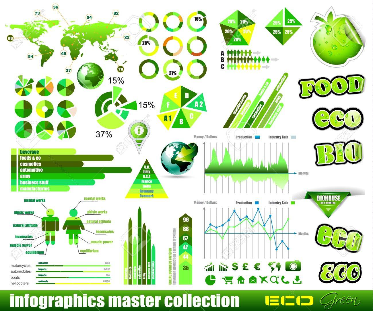 Premium Eco Green infographics master collection: graphs, histograms, arrows, chart, 3D globe, icons and a lot of related design elements. Stock Vector - 12495288