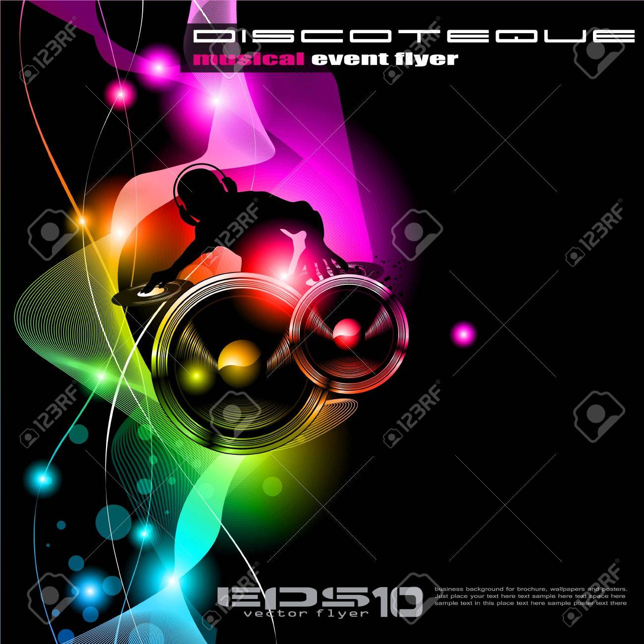 Poster Background For Music International Disco Event With Rainbow
