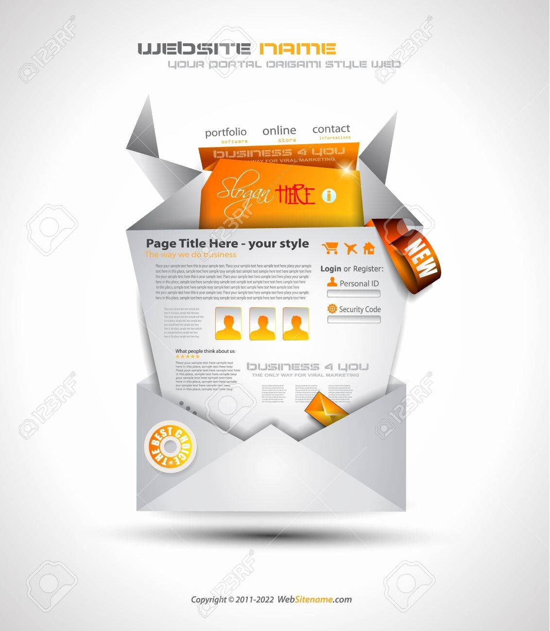 Origami Website - Elegant Design for Business Presentations. Template with a lot of design elements. Shadows are Transparent Stock Vector - 13209916