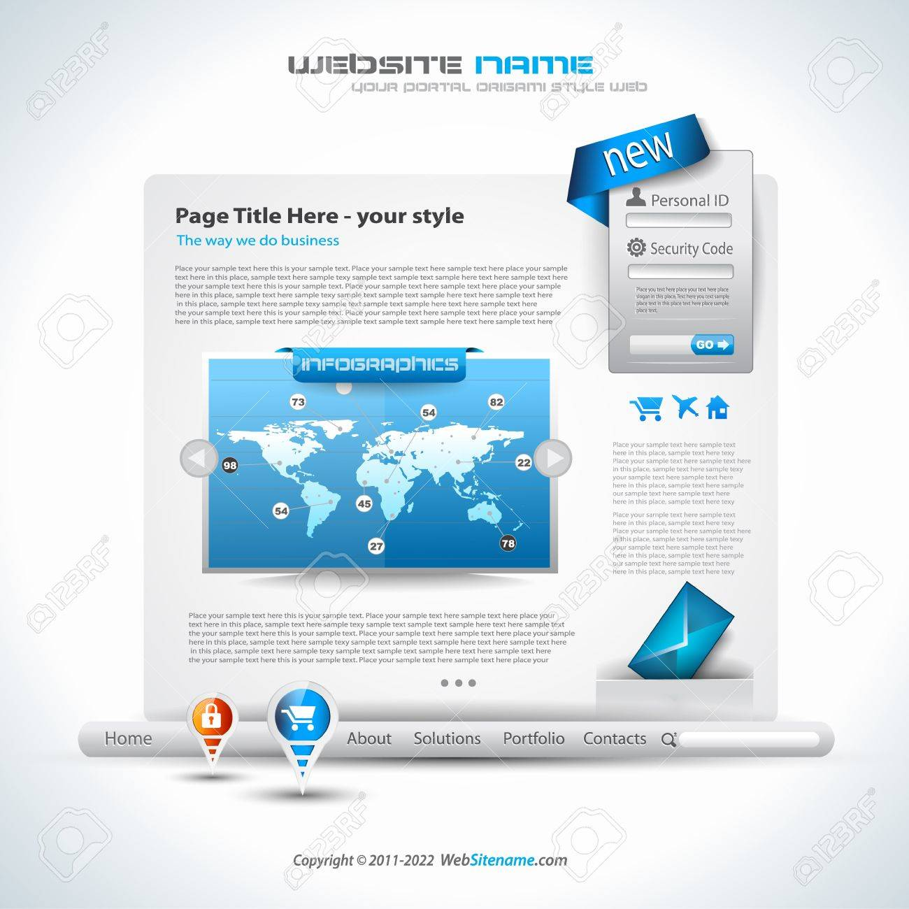 Origami Website - Elegant Design for Business Presentations  Template with a lot of design elements  Transparent shadows Stock Vector - 13300067