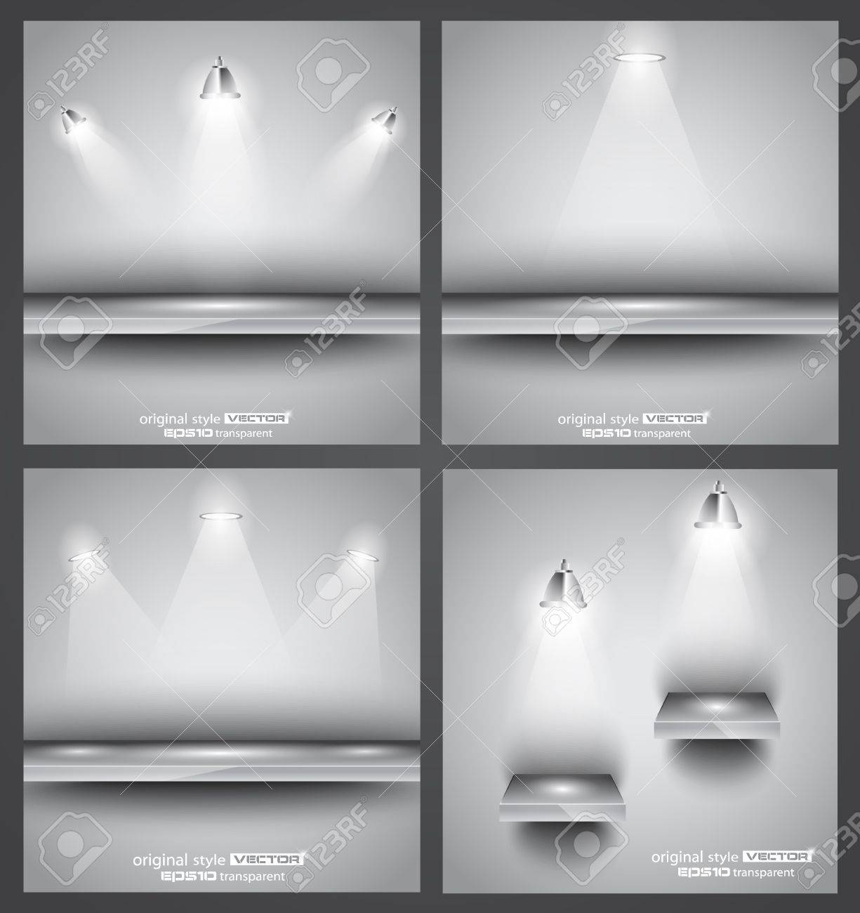 Collection of 4 backgrounds  shop front shelves with LED spotlights  Ideal to feature a product Stock Vector - 13300064