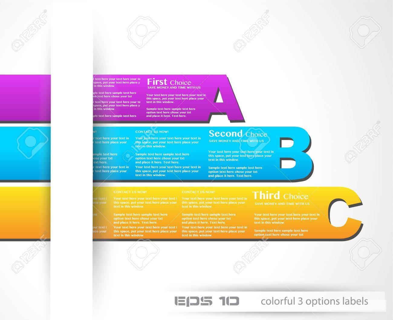 Paper style labels with 3 choices  Ideal for web usage, depliant for product comparison or infographics or business presentation Stock Vector - 13640183